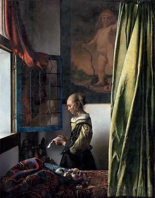 Young woman reading a letter at an open window, by Johannes Vermeer. c.1657–59. Oil on canvas, 83 by 64.5 cm. Photographed after restoration, 2021. (Staatliche Kunstsammlungen, Gemäldegalerie Alte Meister, Dresden; photograph Wolfgang Kreische).