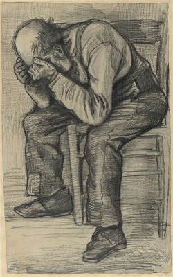 Study for 'Worn out', by Vincent van Gogh. Around 24th November 1882. Carpenter's pencil on watercolour paper, traces of squaring and fixative, 48.8 by approx. 30 cm. (Private collection).